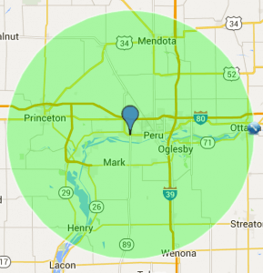 Green radius on a map.