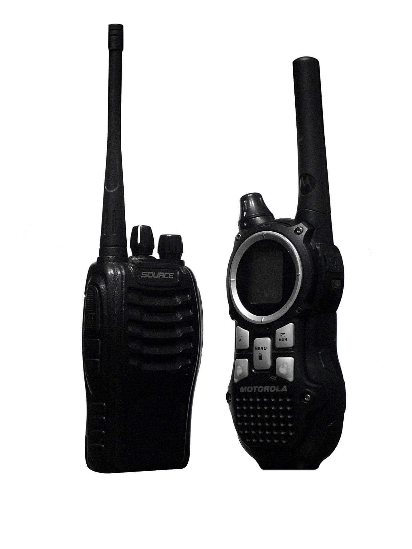 Two walkie talkies.